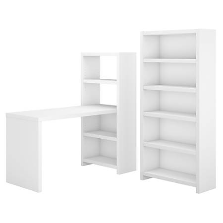 kathy ireland® Office by Bush Business Furniture Echo Bookcase Desk With Storage, Pure White/Pure White, Standard Delivery