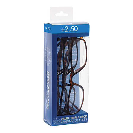 Dr. Dean Edell Plastic Reading Glasses, +2.50, Pack Of 3