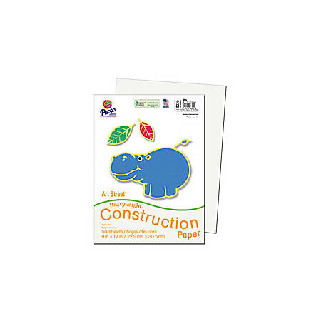 "SunWorks® Construction Paper, 9"" x 12"", White, Pack Of 50"