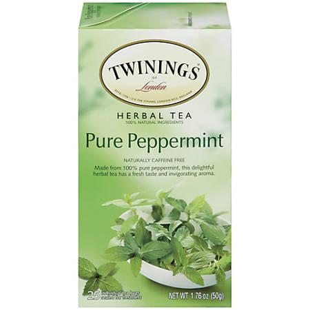 Twinings Caffeine-Free Pure Peppermint Herbal Tea, 2 Oz, Pack Of 25