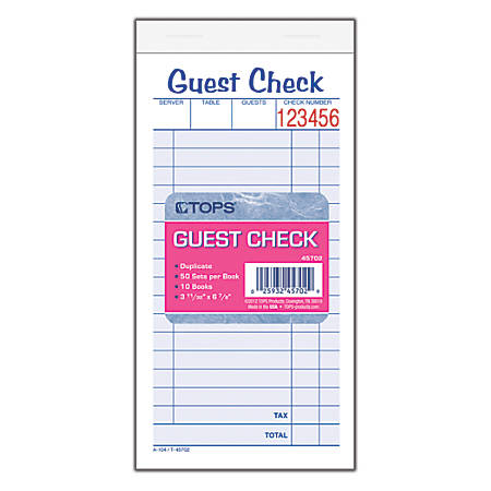 TOPS™ Guest Check Books, 2-Part Carbonless, 50 Sheets, Pack of 10