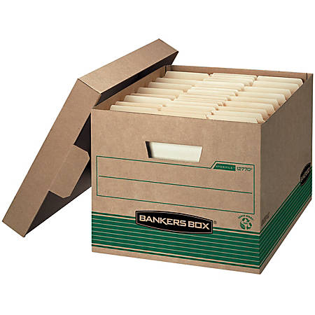 "Bankers Box® Stor/File™ Medium-Duty Storage Boxes, Letter/Legal Size, 10""H x 12""W x 15""D, 100% Recycled, Kraft/Green, Pack Of 20"