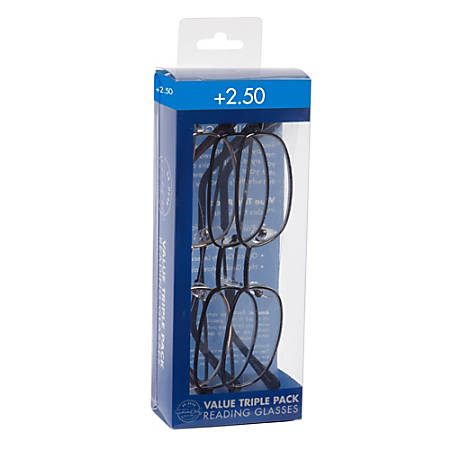Dr. Dean Edell Plastic Reading Glasses, Metal, +2.50, Pack Of 3