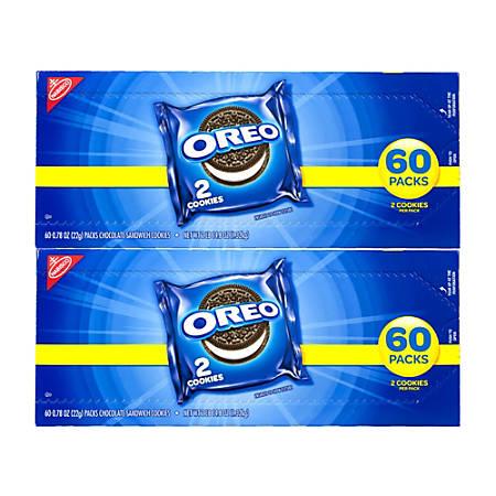 Oreo Chocolate Sandwich Cookies, 2 Cookies Per Pack, Box Of 120 Packs