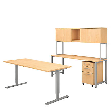 Bush Business Furniture 400 Series Height Adjustable Standing Desk with Credenza, Hutch and Storage, Natural Maple, Standard Delivery