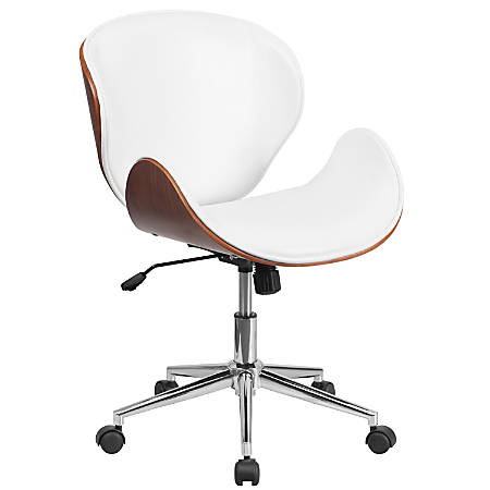Flash Furniture Mid-Back Swivel Conference Chair, White/Walnut/Silver