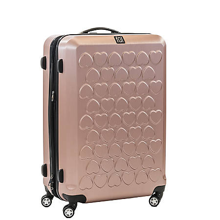 """ful Hearts Upright Rolling Suitcase, 25""""H x 17 3/8""""W x 11""""D, Gold"""