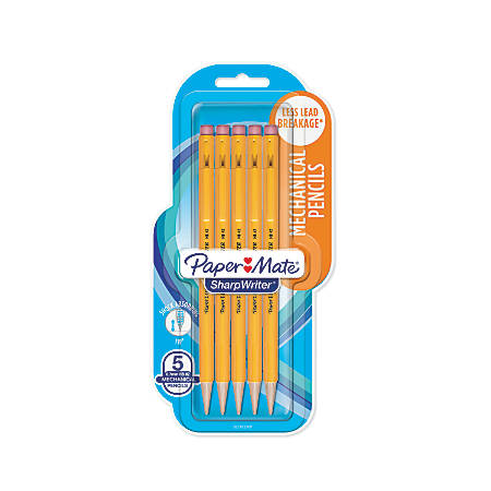 Paper Mate® SharpWriter® Mechanical Pencils, 0.7 mm, Yellow Barrel, Pack Of 5 Pencils