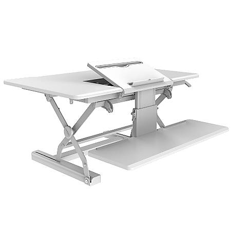 "Loctek P Series 36"" Sit-Stand Riser With Drop-Down Keyboard Tray, White"