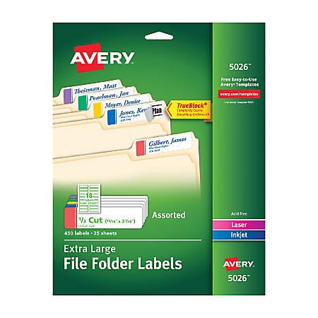 Avery Trueblock Extra Large Permanent Inkjetlaser File Folder Labels