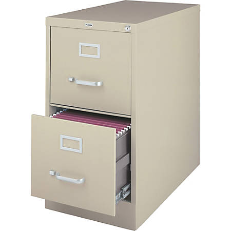 Lorell® Fortress Series 26 1/2''D 2-Drawer Legal-Size Steel Vertical File Cabinet, Putty