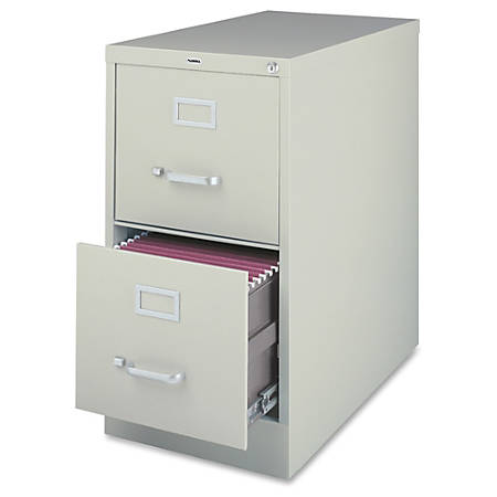 Lorell® Fortress Series 26 1/2''D 2-Drawer Legal-Size Steel Vertical File Cabinet, Light Gray