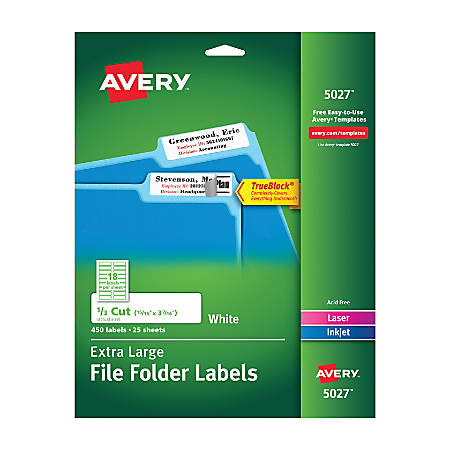 "Avery® TrueBlock® Extra-Large Permanent Inkjet/Laser File Folder Labels, 5027, 15/16"" x 3 7/16"", White, Pack Of 450"