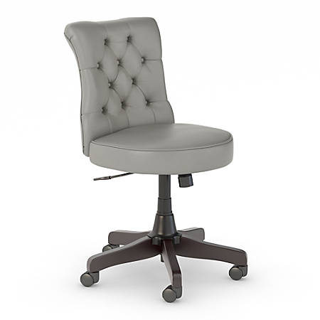 Bush Business Furniture Arden Lane Mid-Back Tufted Leather Office Chair, Light Gray, Standard Delivery