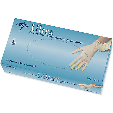 Ultra Powder-Free Synthetic Vinyl Exam Gloves, Large, Off White, 100 Gloves Per Box, Case Of 10 Boxes
