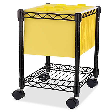 """Lorell® Compact Mobile Wire File Cart, 15 1/2""""W x 14""""D, Black"""