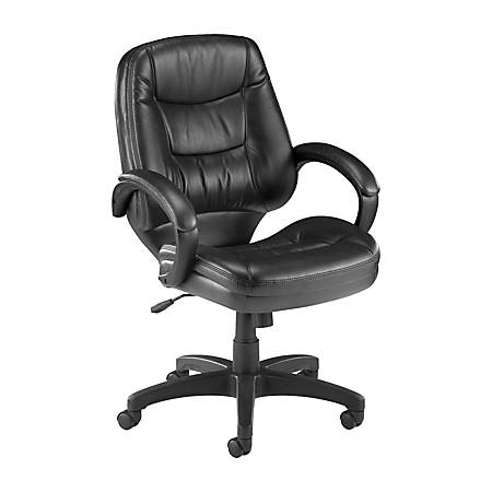 Lorell® Westlake Series Managerial Mid-Back Leather Chair, Black