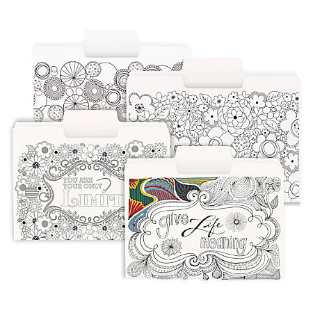 "Smead® SuperTab® Coloring File Folders, 3/4"" Expansion, Letter Size, White, Pack Of 24 Folders"