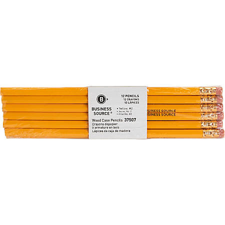 Business Source Woodcase Pencils, #2 Lead, Yellow Barrel, Pack Of 12 Pencils