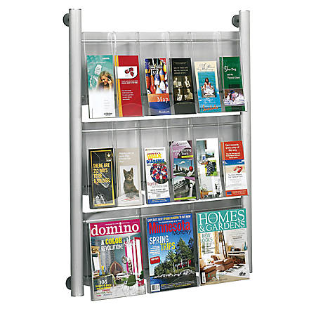 """Safco® Luxe Magazine Rack, 41""""H x 31 3/4""""W x 5""""D, Silver"""