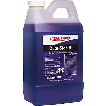 Betco Quat-Stat 5 Disinfectant - Concentrate Liquid - 0.53 gal (67.63 fl oz) - Lavender Scent - 1 Each - Purple
