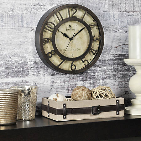 """FirsTime® Raised Number Wall Clock, 8 1/2""""H x 8 1/2""""W x 1 1/2""""D, Bronze"""
