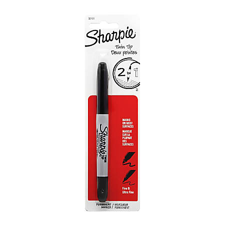 Sharpie Twin-Tip Markers - Fine, Ultra Fine Marker Point - Black Alcohol Based Ink - 1 / Pack