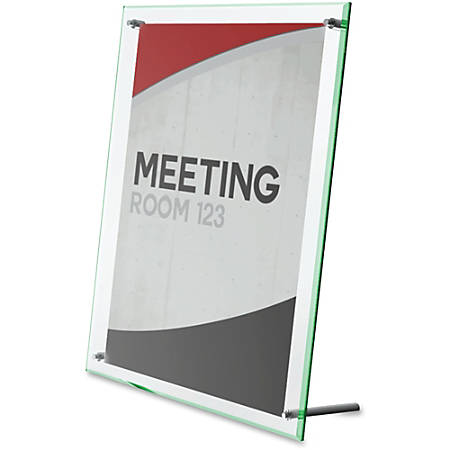"Deflecto Superior Image Beveled Sign Holder - 1 Each - 5"" Width x 7"" Height - Rectangular Shape - Self-standing, Lightweight, Beveled Edge - Clear, Green"