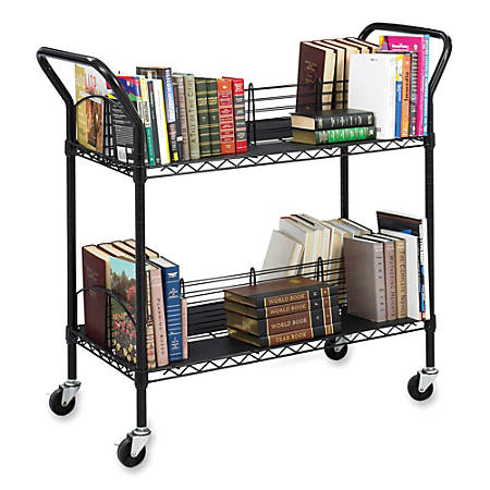 "Safco® Double-Sided 2-Shelf Wire Book Cart, 40 1/2""H x 44""W x 18 3/4""D, Black"