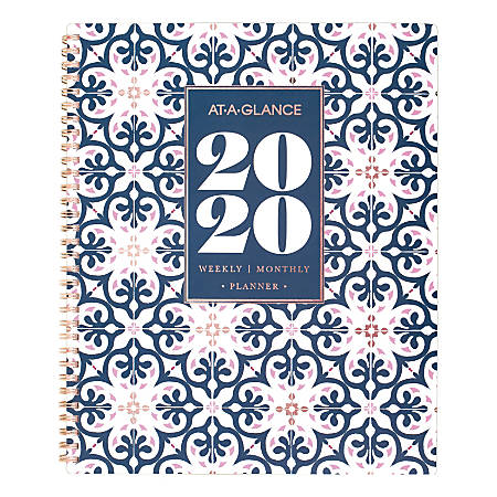 """AT-A-GLANCE® Badge Collection 13-Month Weekly/Monthly Planner, 8-1/2"""" x 11"""", Multicolor, January 2020 To January 2021, 5282G-905"""