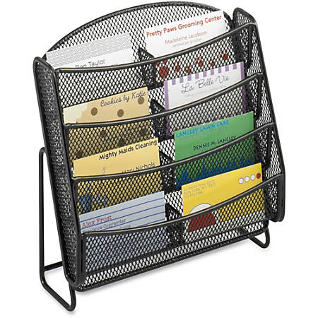 "Safco Steel Mesh 8-Compartment Business Card Holder - 8.8"" Height x 8.8"" Width x 3"" Depth - Desktop - Black - Steel - 1Each"