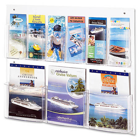 """Safco Nine Compartment Magazine/Pamphlet Display - 9 Compartment(s) - Compartment Size 7"""" x 2"""" x 9.12"""" - 23.5"""" Height x 28"""" Width x 3"""" Depth - Wall Mountable - Clear - Polycarbonate, Polyethylene - 1 / Each"""