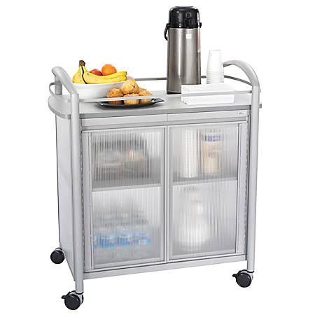 "Safco® Impromptu® Refreshment Cart, 36 1/2""H x 34""W x 21 1/4""D, Gray"