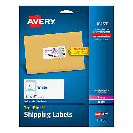 "Avery® Shipping Labels With TrueBlock Technology, 18163, 2"" x 4"", White, Pack Of 100"