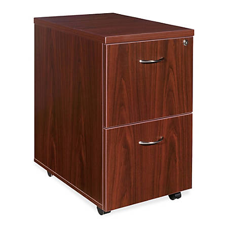 """Lorell® Essentials Series 22""""D 2-Drawer Mobile Pedestal File Cabinet, Mahogany"""