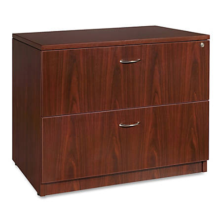 "Lorell® Essentials Series 36""W 2-Drawer Lateral File Cabinet, Mahogany"