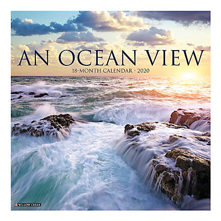 """Willow Creek Press Scenic Monthly Wall Calendar, 12"""" x 12"""", Ocean View, January To December 2020"""