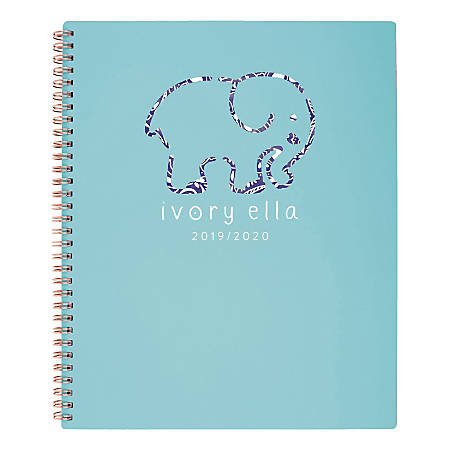 "Cambridge® Ivory Ella Tile Weekly/Monthly Planner, 8-1/2"" x 11"", Teal, January To December 2020, 1337-905"