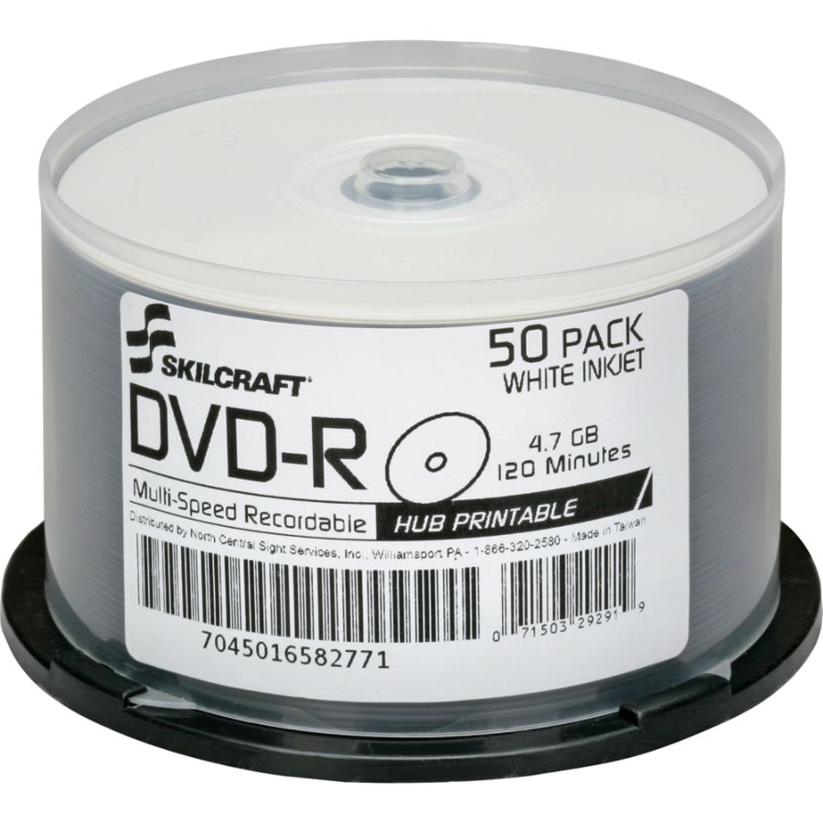 graphic regarding Inkjet Printable Dvd known as SKILCRAFT® Inkjet Printable DVD-R Recordable Media With Spindle, 4.70 GB/120 Minutes, Pack Of 50 Pack Products # 568697