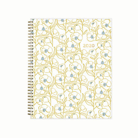 "Blue Sky™ Egg Press Weekly/Monthly Planner, 8-1/2"" x 11"", Blue Patternless Flower, January to December 2020"