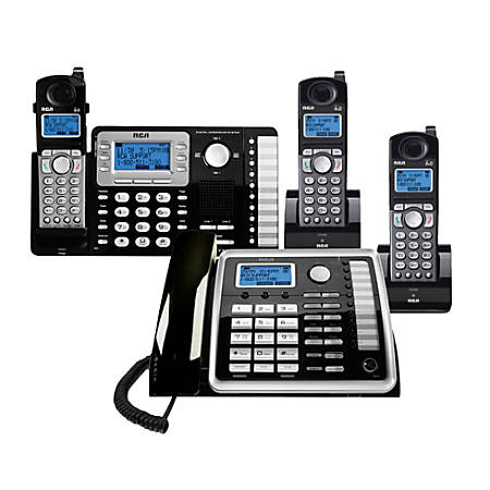 Telefield RCA 2-Line DECT 6.0 Expandable Cordless Phone System With Digital Answering System, RCA-1DSK2HSBNDL