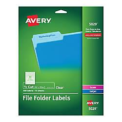 Avery Clear Permanent InkjetLaser File Folder
