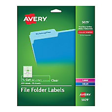Avery Clear Permanent InkjetLaser File Folder