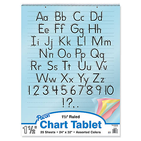 "Pacon® Color Paper Chart Tablet, 1 1/2"" Ruled, 24"" x 32"""