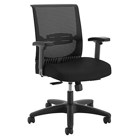 "HON Convergence Task Chair - Fabric Black, Foam Seat - 5-star Base - 26.9"" Width x 27.5"" Depth x 39.9"" Height"