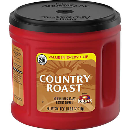 Folgers Country Roast Ground Coffee, 25.1 Oz Canister