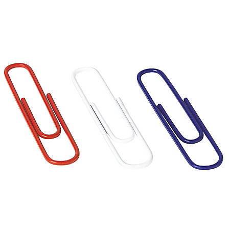 ACCO® Red, White And Blue Jumbo Paper Clips, Assorted Colors, Box Of 150