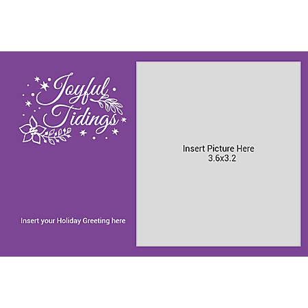 Flat Photo Greeting Card, Joyful Tidings Purple, Horizontal