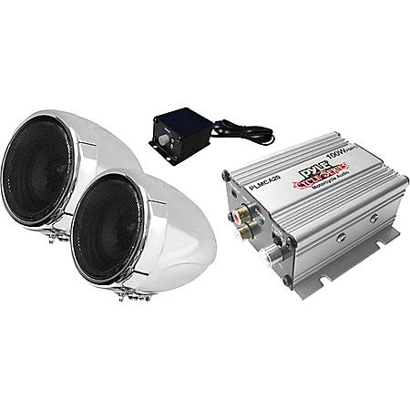 Pyle Cycle Series 100W Handlebar-Mount Weather-Resistant Speaker System, Chrome, PLMCA20