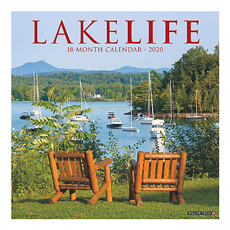 """Willow Creek Press Scenic Monthly Wall Calendar, 12"""" x 12"""", Lake Life, January To December 2020"""
